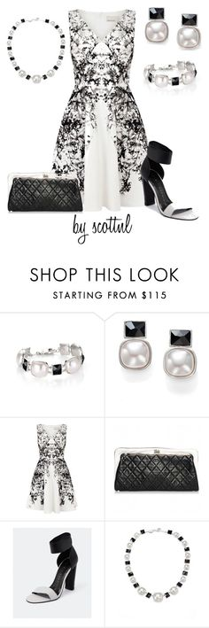 """Set #221"" by scottnl ❤ liked on Polyvore featuring Majorica, Karen Millen, Chanel, Robert Robert, DateNight, chic, blackandwhite and classy"