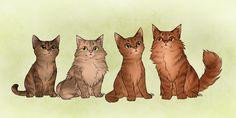 Reflecting Cuties by AnnMY BramblexSquirrel children Juniperkit, Dandelionkit, Sparkkit, and Alderkit