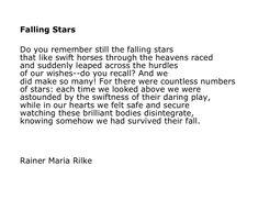 Rainer Maria Rilke. Falling Stars