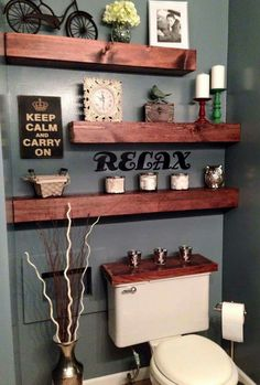 SLIM BATHROOM SHELVES...What a great idea!