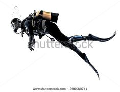 one caucasian scuba diver diving man  in studio  silhouette isolated on white…