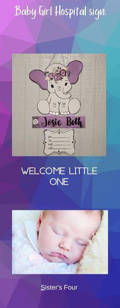 Nursery Signs, Baby Nursery Decor, Girl Nursery, Hospital Signs, Baby Door Hangers, Baby Girl Elephant, Boho Baby, Christmas Baby, New Baby Gifts