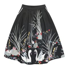 'Daniella' Black Swan Border Swing Skirt