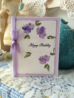 W-Plus 9 Design Studio stamp set, Watercolored anemones. Sentiment from Papertrey Ink.