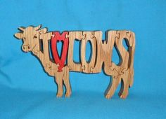 I Love Cows Scroll Saw Wooden Puzzle | Huebyswoodcreations - Toys on ArtFire