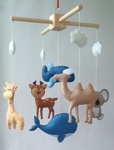 Animals mobile Cot mobile Baby crib mobile Nursery felt by ZooToys
