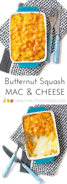 This butternut squash mac and cheese is a healthier version of a kids favourite meal. Deliciously creamy with less cheese and more veg. #kidsfood #hiddenveg via @hlittlefoodies