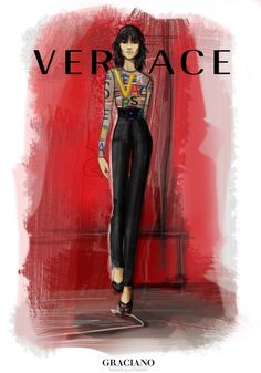 GRACIANO fashion illustration: Versace FALL 2015 ‪#‎MFW‬