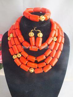 W-863 Fashion Nigerian Wedding African Beads Jewelry set Hot Pink Necklace Bracelet Earrings Jewelry Set $78.93
