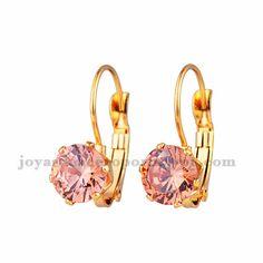 aretes con cristal champan en acero para mujer-SSEGG164336