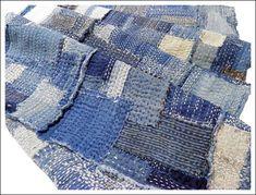 """""""Extreme Sashiko Indigo Boro Cloth"""" From: """"Kimono Boy's Japanese Folk Textiles. Sashiko Embroidery, Japanese Embroidery, Kintsugi, Shibori, Boro Stitching, Wooly Bully, Futon Covers, Visible Mending, Japanese Textiles"""