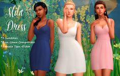 Mila DressHere is a little dress I put together for a stroll through the park, date night or for a small casual wedding. • 9 Swatches • Base Game Compatible • Female Teen - Elder Download: MediaFire (No Adfly)