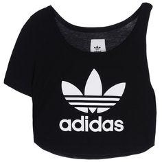 Adidas Originals T-shirt (€53) ❤ liked on Polyvore featuring tops, t-shirts, shirts, adidas, crop top, black, logo tees, crop tee, jersey shirt and crop t shirt