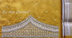 For orders contact Sri Aari Creatives - 9514395293 Simple Blouse Designs, Sari Blouse Designs, Aari Work Blouse, Maggam Works, Sleeve Designs, Bridal Collection, Blouses, Embroidery, Beads