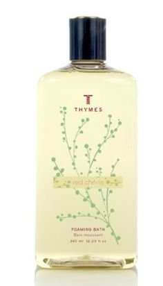 Thymes Liquid Foaming Bath, Red Cherie, 12.25-Ounce Bottle by Thymes. $19.99. Thymes guarantees the safety of products without ever testing on animals. Contains moisturizing vitamin E, antioxidant cherry extract and calming passion flower extract. 12.25 fluid ounces of fragrant foaming bath. Red Cherie is a mix of sparkling pomegranate, ripe cherries, passion flower, a twist of lychee with a tease of fruit musk. Pour into a warm running water for a tubful of sparkl...