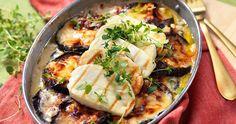 Vegetariskt | Allas Recept Halloumi, Moussaka, Wok, Lchf, Vegetarian Recipes, Meat, Chicken, Ethnic Recipes, Gratin
