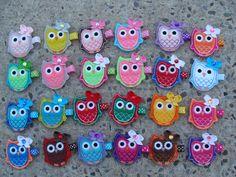 2 Embroidered Owl Hair Clips Owl Hair Clips Felt by MyLuckyHairBow, $6.55