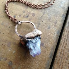 Mini Raw Amethyst Geode Pendant Necklace - Electroformed Copper