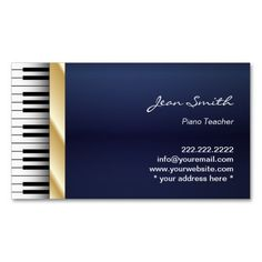 Navy Blue Gold Stripe Music Piano Teacher Business Card