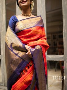 -𝘢𝘥𝘪𝘷𝘢𝘯𝘢 𝘢𝘭𝘢𝘪𝘬𝘢𝘭                                                                 Waves on the horizon. // . Tunes and rhythms galore on the horizons where the sky meets the sea. This Kanjivaram silk saree has a mix of tangerine and orange colors across the body along with zari checks and is enhanced by a midnight blue border with intricate traditional mayil motifs.  Blue Silk Saree, Kanjivaram Sarees Silk, Orange Saree, Kanchipuram Saree, Silk Saree Blouse Designs, Saree Blouse Patterns, Fancy Blouse Designs, Dress Designs, Bridal Sarees South Indian