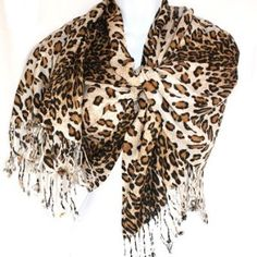 Graduated Leopard Animal Print Ivory Brown Pashmina Soft Shawl Scarf Stole Silver Fever. $12.99