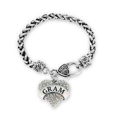 Gram Pave Heart Charm Bracelet #collection #jewelry #family #inspiredsilver #CharmBracelet #HeartCharmBracelet http://www.inspiredsilver.com/