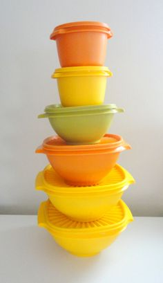 Tupperware Stackable Bowls with Lids Retro 70s Colors by KimBuilt, $30.00