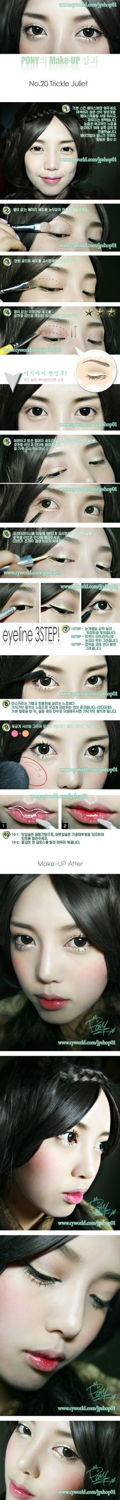 Pony Makeup Tutorial 20 Trickle Juliet, Use Bright Sparkly Colors like Gold or Silver Eye Shadow to OPEN up eyes and make it POP Asian Makeup Tips, Asian Makeup Tutorials, Makeup Ideas, Asian Make Up, Eye Make Up, Pony Makeup, Ulzzang Makeup, Makeup Books, Asian Eyes
