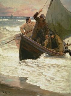 Peder Severin Krøyer - Homecoming of the fishermen (Skagen) Stavanger, Skagen, Sea Fishing, Fishing Boats, Nautical Art, Great Paintings, Am Meer, Great Artists, Cool Art