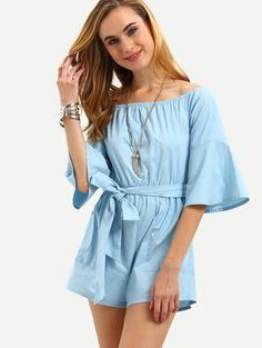 Online shopping for Blue Bell Sleeve Tie Waist Jumpsuit from a great selection of women's fashion clothing & more at MakeMeChic.COM.