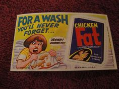 1969 TOPPS WACKY ADS # 13 CHICKEN FAT LAUNDRY