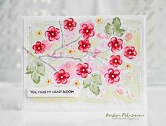 I used small flowers from Vintage Flowers stamp set, and a little washed out. Vintage Flowers, и немного размыла водой.  Stamps: Vintage Flowers Inks: Coral Berry, Grapevine, Forest Glades, Mango Smoothie, Evening Gray