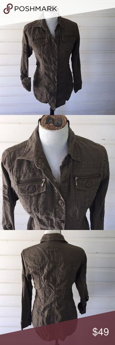 Cabi Jacket Brown distressed jacket with dyno details. Zipper pockets with button down  Inset side pockets, top stitched darts, roll up sleeves and over the hip fit. Urban combat at its best. Underarm to underarm 18 in, shoulder to hem 26 in. Offers warmly welcomed. Cabi Jackets & Coats Utility Jackets