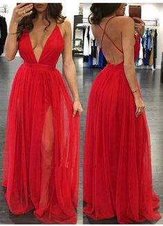 Simple v neck chiffon red long prom dress, cute red evening dress, backless formal dress Sexy Spaghetti Straps Sleeveless Deep V High Split Backless Prom Dresses Tulle Party Gowns