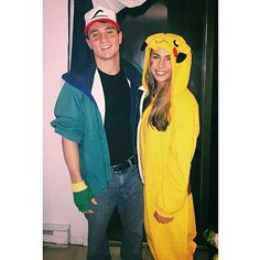 Ash and Pikachu: A super fun and easy DIY Halloween costume for couples. Easy Couples Costumes, Funny Couple Costumes, Cute Couple Halloween Costumes, Easy Halloween Costumes, Cute Halloween, Costume Ideas, Halloween Stuff, Halloween Outfits, Halloween Ideas