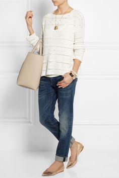 Donna Karan|Open-knit silk sweater| The Row | Roger jersey tank | Rag & bone | The Dre cropped mid-rise slim-leg boyfriend jeans | Gianvito Rossi | Metallic leather point-toe flats | Victoria Beckham | Liberty textured-leather shopper