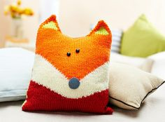 Oliver Fox knitted fox pillow