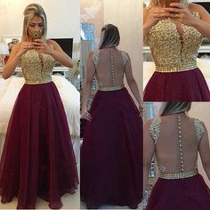 $159.99 Long A-line Zipper Beading Chiffon Prom Dresses 2017products_id:(1000075436 or 1000075170 or 1000074533 or 1000073444)