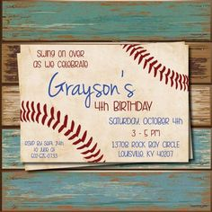 "Baseball Party invitations by InitialMePink on Etsy Wording ""Judah's rounding Swing by and celebrate Judah turning Baseball Theme Birthday, Sports Birthday, 6th Birthday Parties, Birthday Fun, Birthday Ideas, Theme Parties, Sports Party, 11th Birthday, Baseball Party Invitations"
