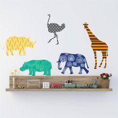 Animal  Wall decals set Nursery Wall decor Giraffe Wall by Popitay