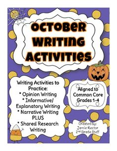 October Writing Activities Aligned to Common Core