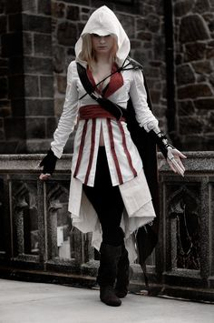 Assassins Creed Cosplay -- i like that this is feminine, but still MUCH closer to the male version of the outfit compared to the extremely skimpy female versions.