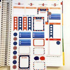 July Sampler Glossy Stickers for Erin Condren Life Planner/Plum Paper Planner