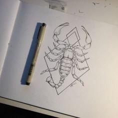 Lovely Scorpion Geometric Tattoos Designs