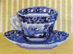 TEACUP vintage needlepoint tapestry kit by VINTAGENEVA on Etsy
