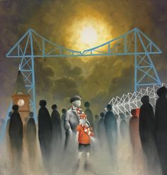 In The Boro Limited Edition signed print Mackenzie Thorpe Welcome To Yorkshire, East Yorkshire, Under The Moon, Print Release, Middlesbrough, Chelsea Flower Show, Boro, Limited Edition Prints, Lounge