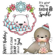 These clear photopolymer stamps come on a backing sheet measuring approximately x 4 inches. Christmas Animals, Christmas Quotes, Cool Clipart, Glass Painting Patterns, Cute Seals, Christmas Planning, Dibujos Cute, Ink Stamps, Christmas Stickers