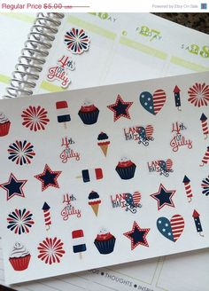 ON SALE Planner Stickers July 4th Set Life by twiceasnicelettering