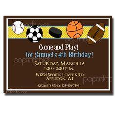 cute invite!! Boys Sports Themed Birthday Party Invitation - DIY PRINTABLE