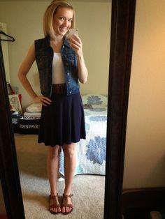 A Little Bit of WoWe : denim vest, cognac sandals, navy skirt